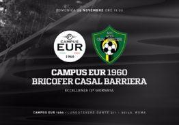 Domenica 25 Novembre: Campus Eur 1960 – Bricofer Casal Barriera