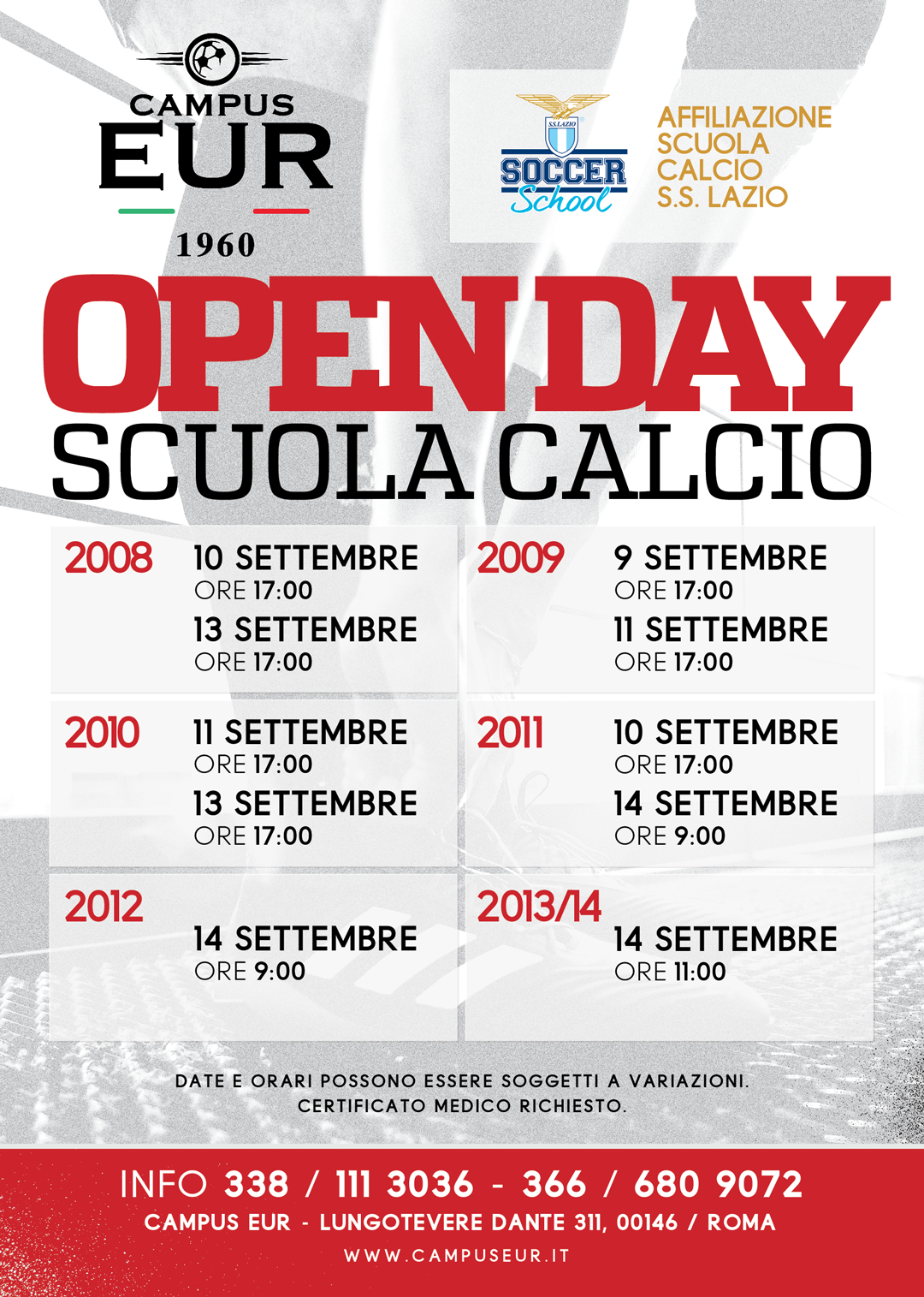 NUOVE DATE OPEN DAY!